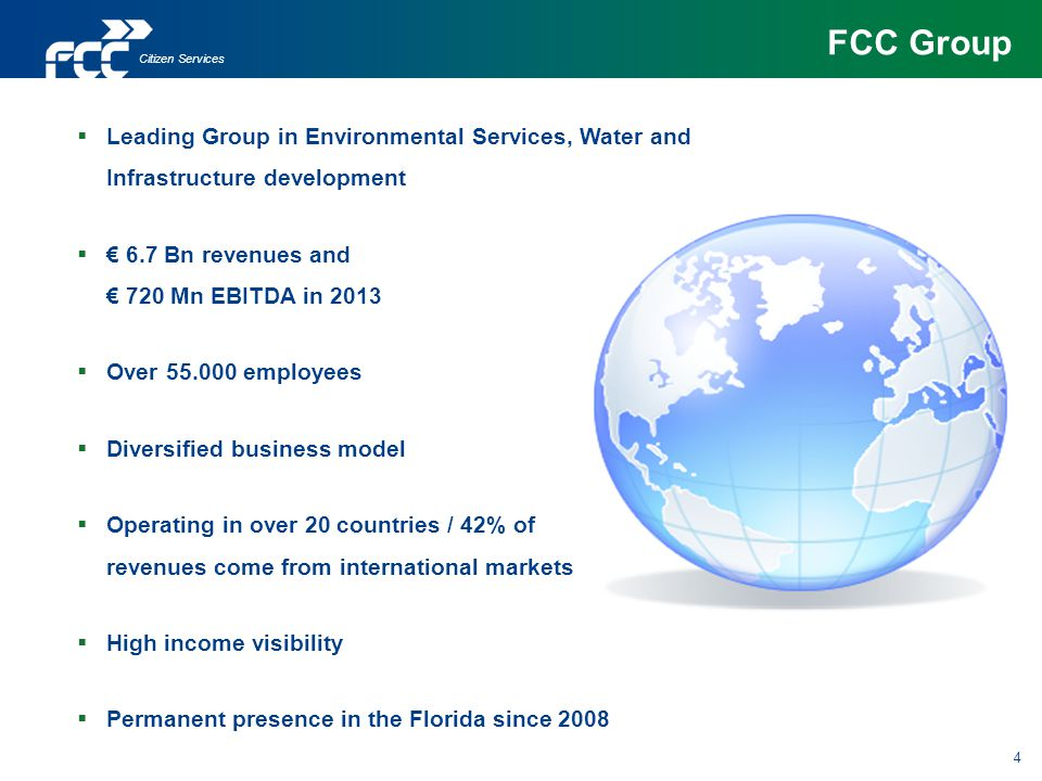 FCC Group Citizen Services. Leading Group in Environmental Services, Water and Infrastructure development.