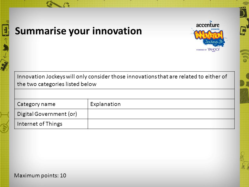 Summarise your innovation