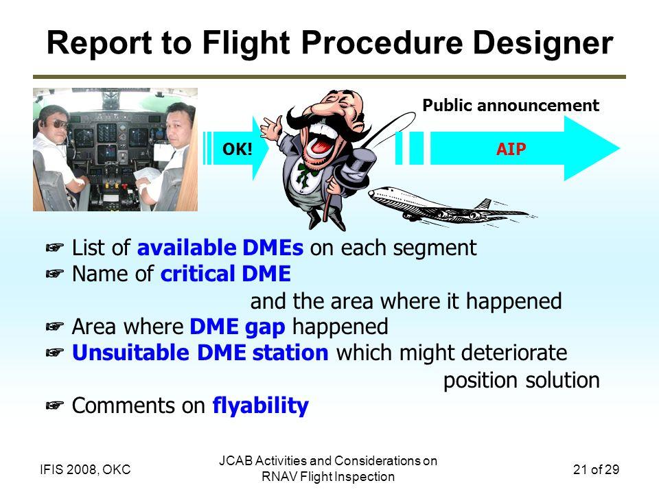 Report to Flight Procedure Designer