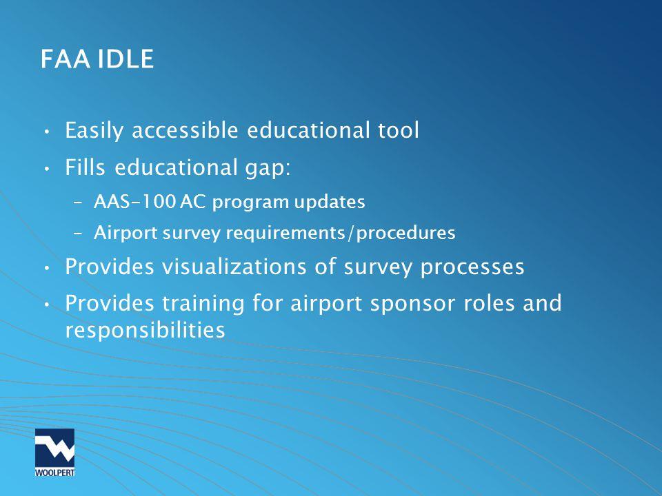 FAA IDLE Easily accessible educational tool Fills educational gap: