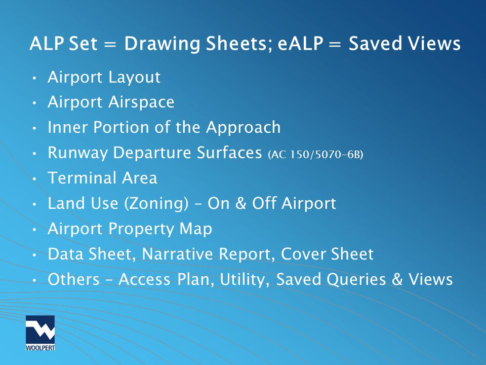 ALP Set = Drawing Sheets; eALP = Saved Views