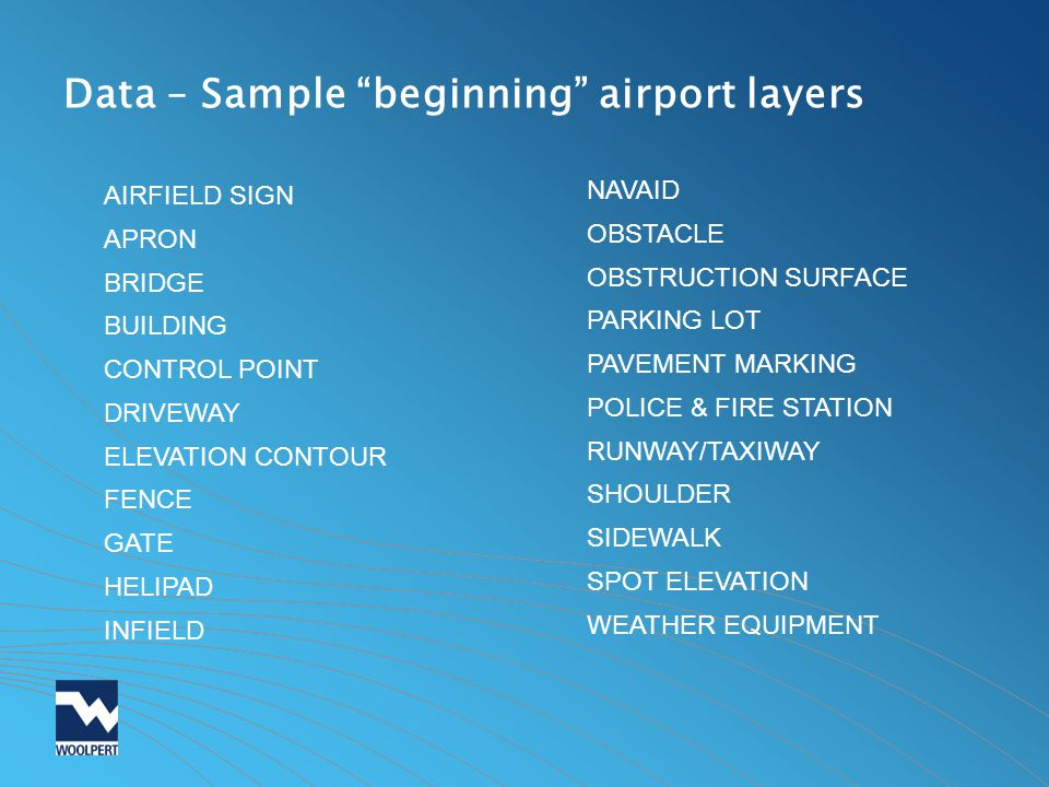 Data – Sample beginning airport layers