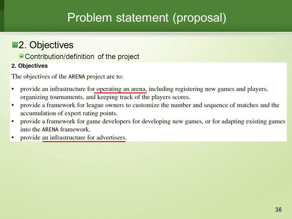 Problem statement (proposal)