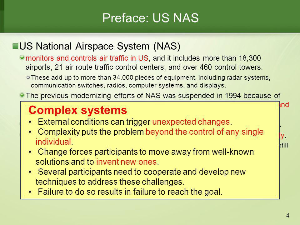 Preface: US NAS US National Airspace System (NAS) Complex systems