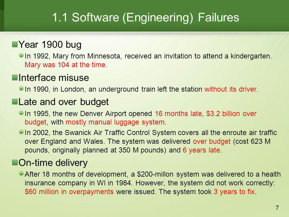 1.1 Software (Engineering) Failures