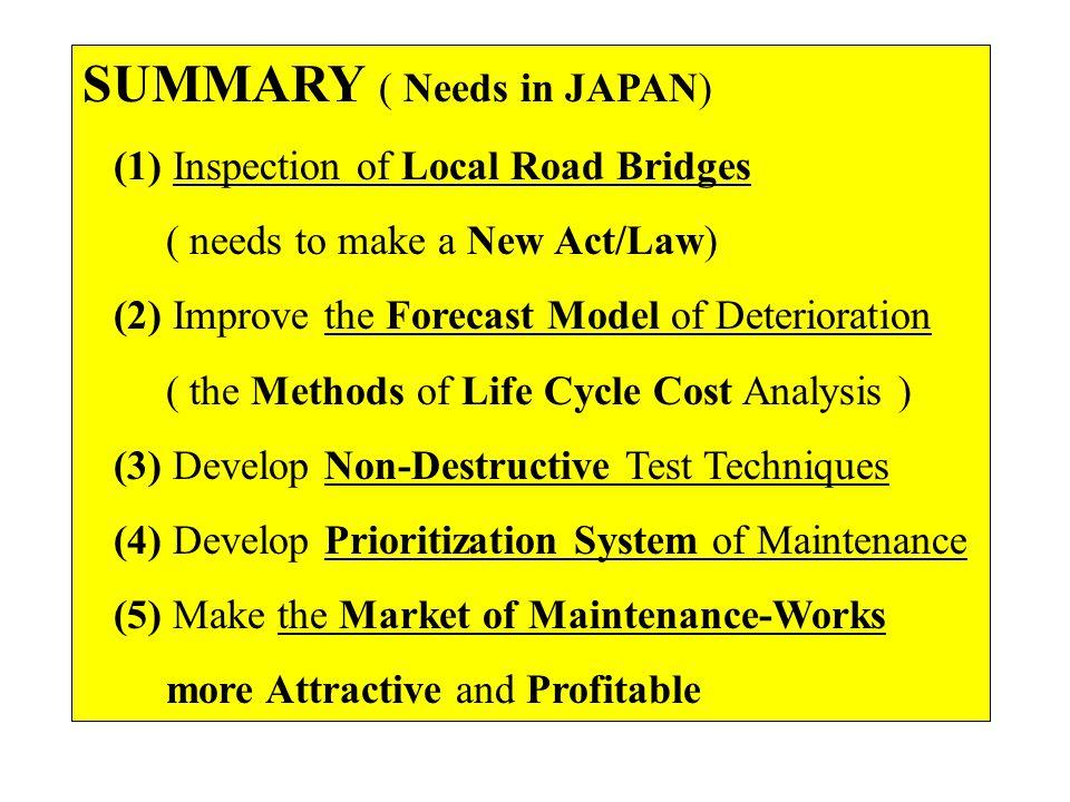 SUMMARY ( Needs in JAPAN)