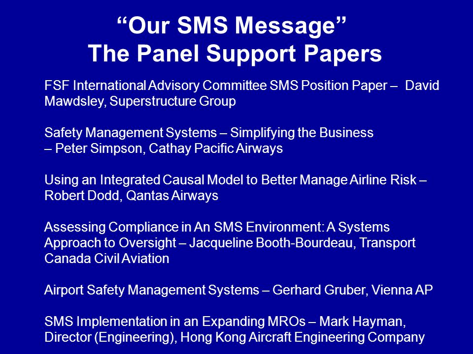 The Panel Support Papers