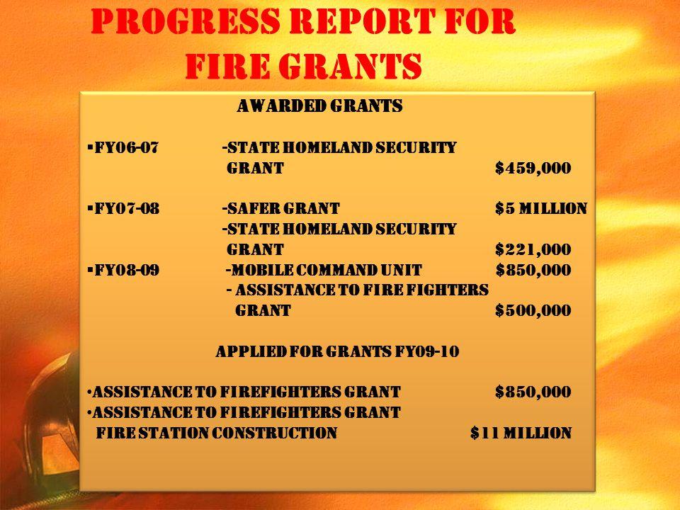 Progress Report for Fire Grants