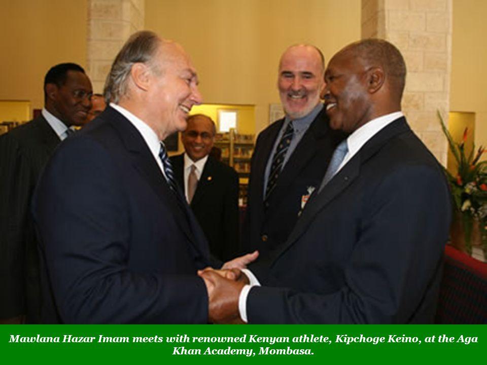 Mawlana Hazar Imam meets with renowned Kenyan athlete, Kipchoge Keino, at the Aga Khan Academy, Mombasa.