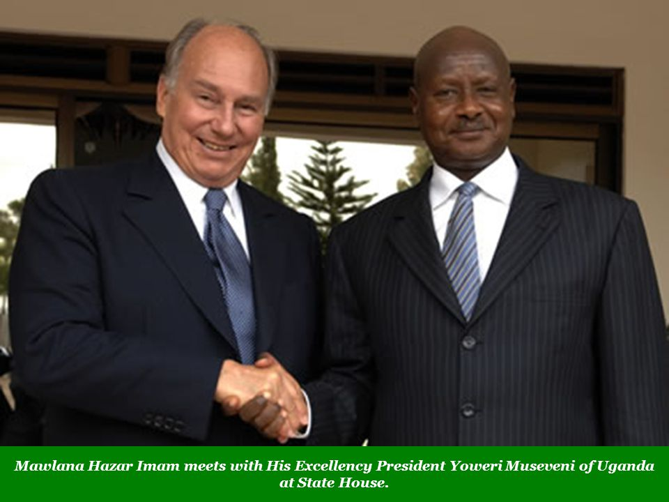 Mawlana Hazar Imam meets with His Excellency President Yoweri Museveni of Uganda at State House.