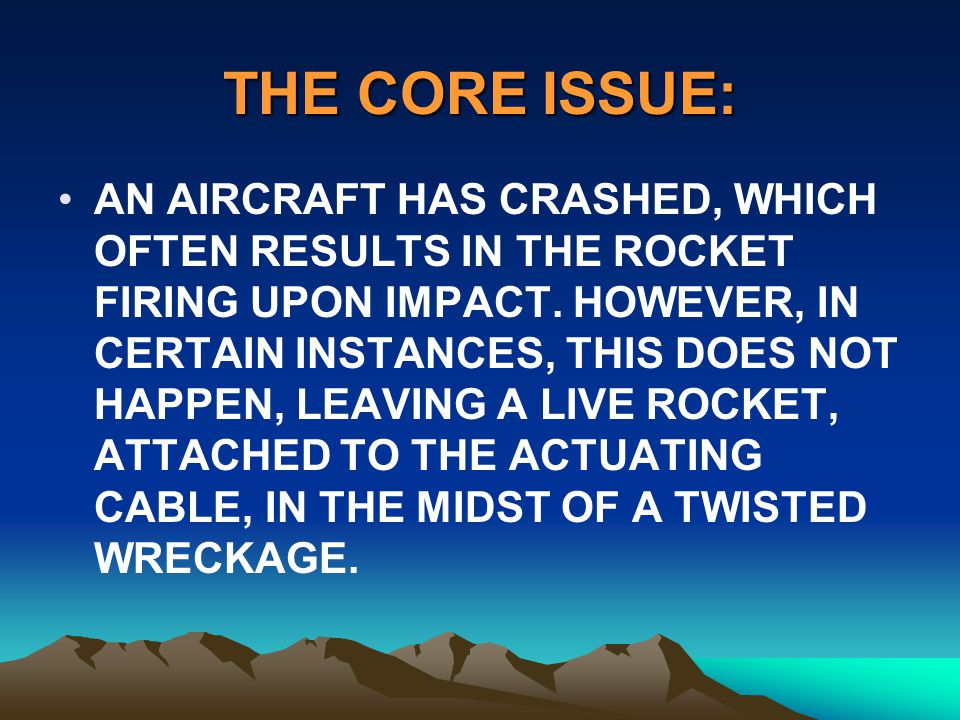 THE CORE ISSUE: