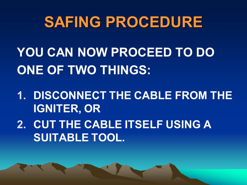 SAFING PROCEDURE YOU CAN NOW PROCEED TO DO ONE OF TWO THINGS: