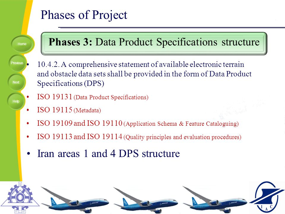 Phases 3: Data Product Specifications structure