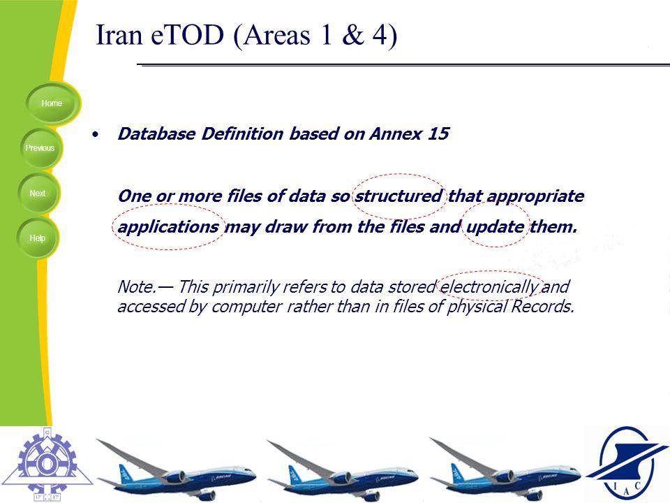Iran eTOD (Areas 1 & 4) Database Definition based on Annex 15