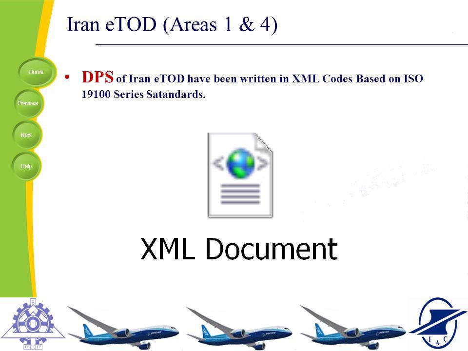 Iran eTOD (Areas 1 & 4) DPS of Iran eTOD have been written in XML Codes Based on ISO 19100 Series Satandards.