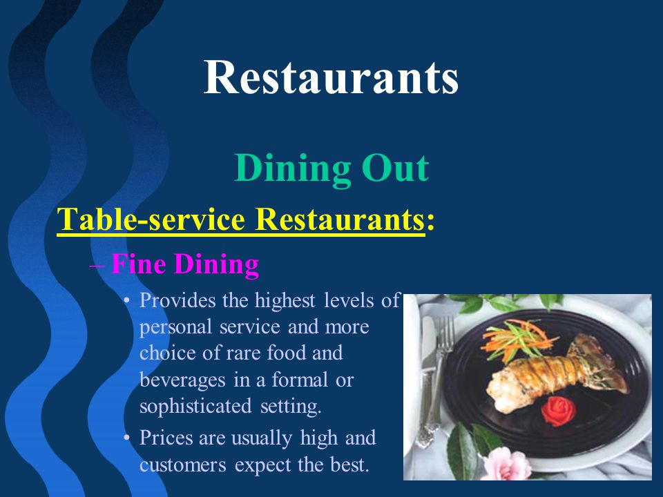 Restaurants Dining Out Table-service Restaurants: Fine Dining