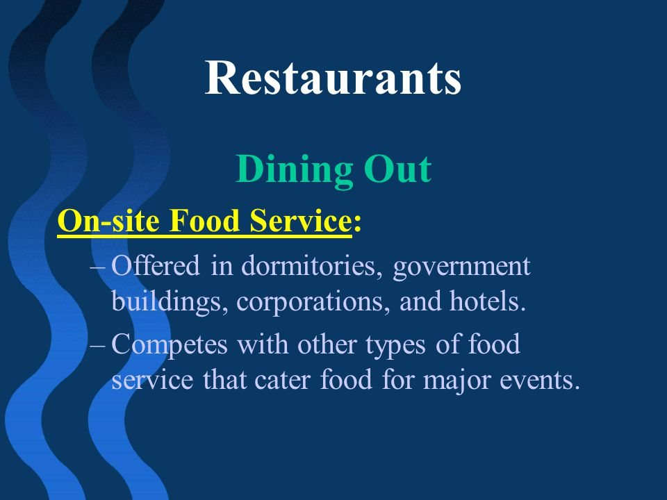 Restaurants Dining Out On-site Food Service: