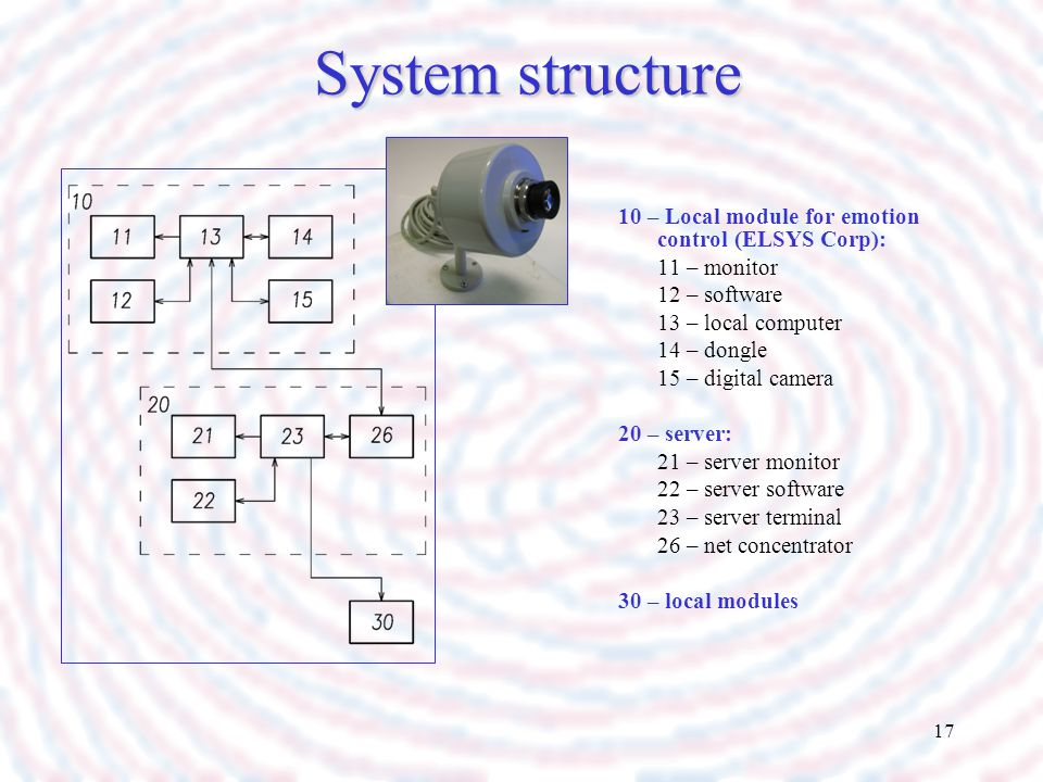 System structure 10 – Local module for emotion control (ELSYS Corp):