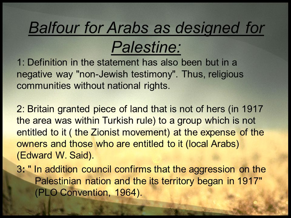 Balfour for Arabs as designed for Palestine: