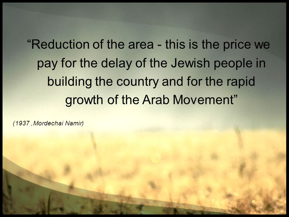 Reduction of the area - this is the price we pay for the delay of the Jewish people in building the country and for the rapid growth of the Arab Movement