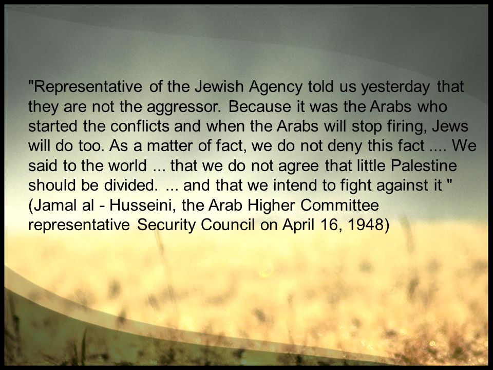 Representative of the Jewish Agency told us yesterday that they are not the aggressor.