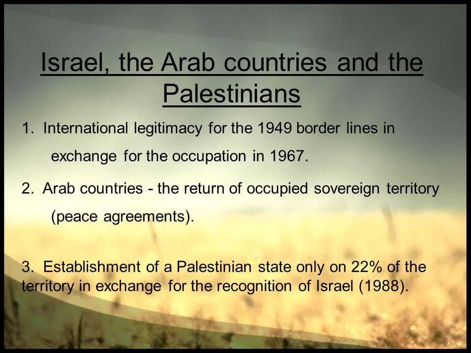 Israel, the Arab countries and the Palestinians