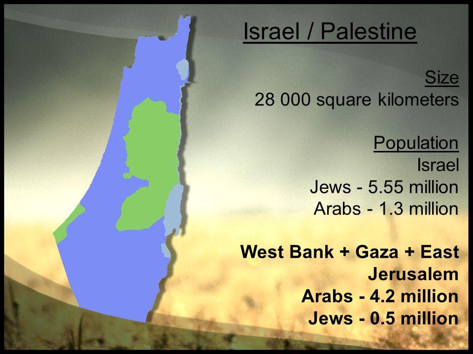 Israel / Palestine Size 28 000 square kilometers