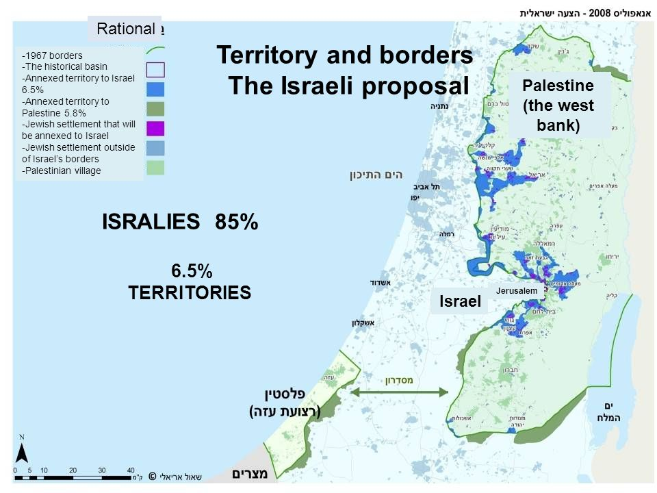 Territory and borders The Israeli proposal Palestine (the west bank)