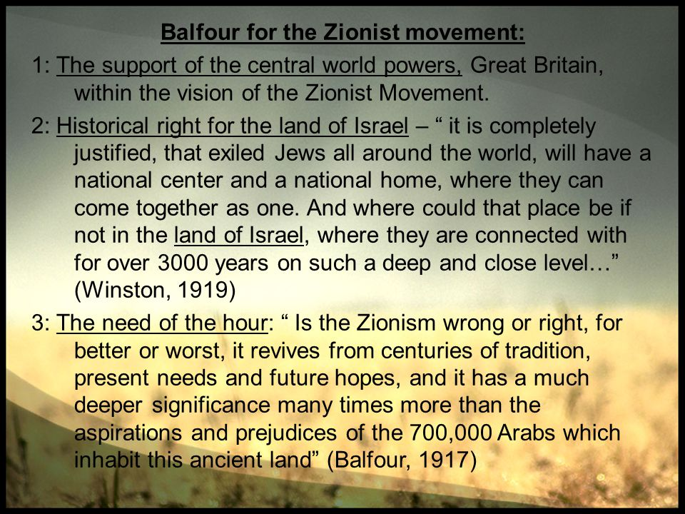 Balfour for the Zionist movement:
