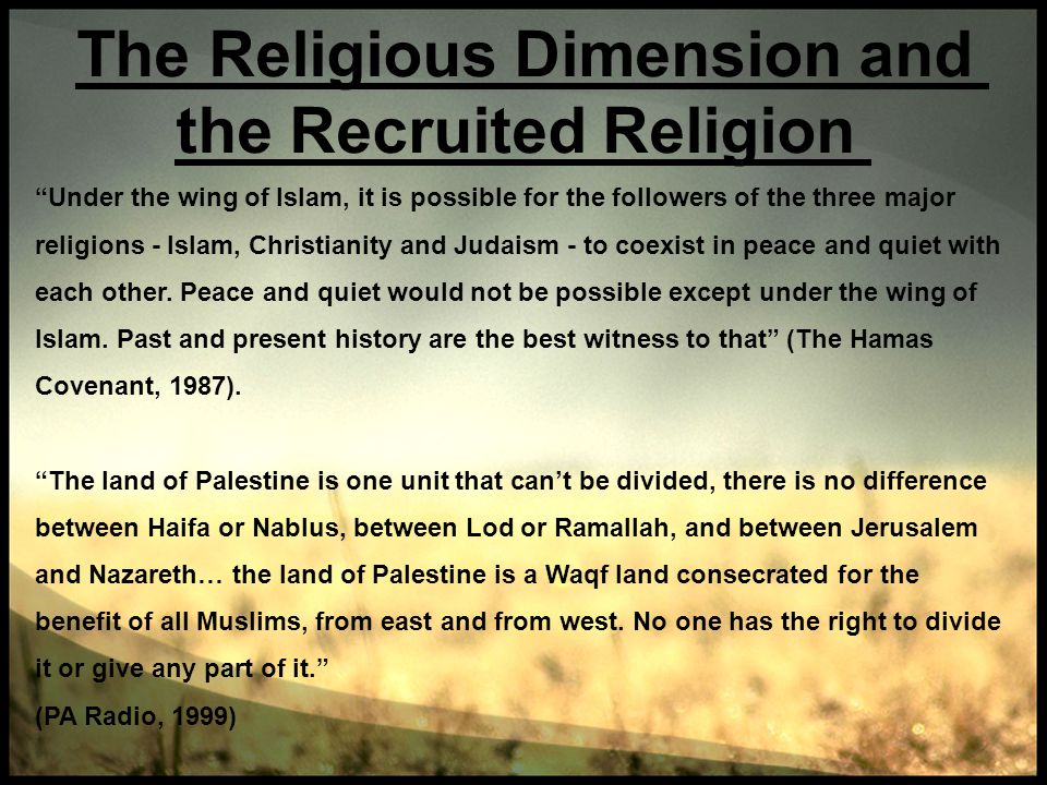 The Religious Dimension and the Recruited Religion