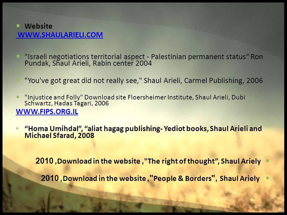 The right of thought , Shaul Ariely, Download in the website, 2010