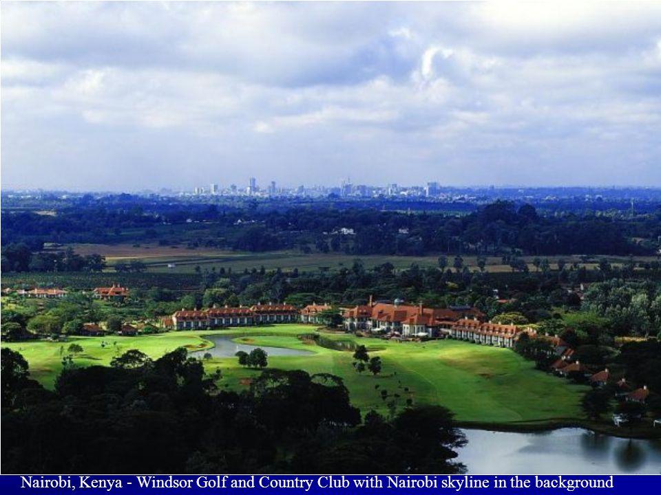 Nairobi, Kenya - Windsor Golf and Country Club with Nairobi skyline in the background