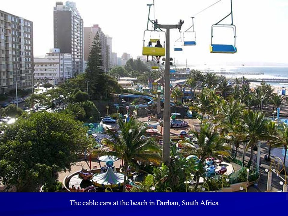 The cable cars at the beach in Durban, South Africa