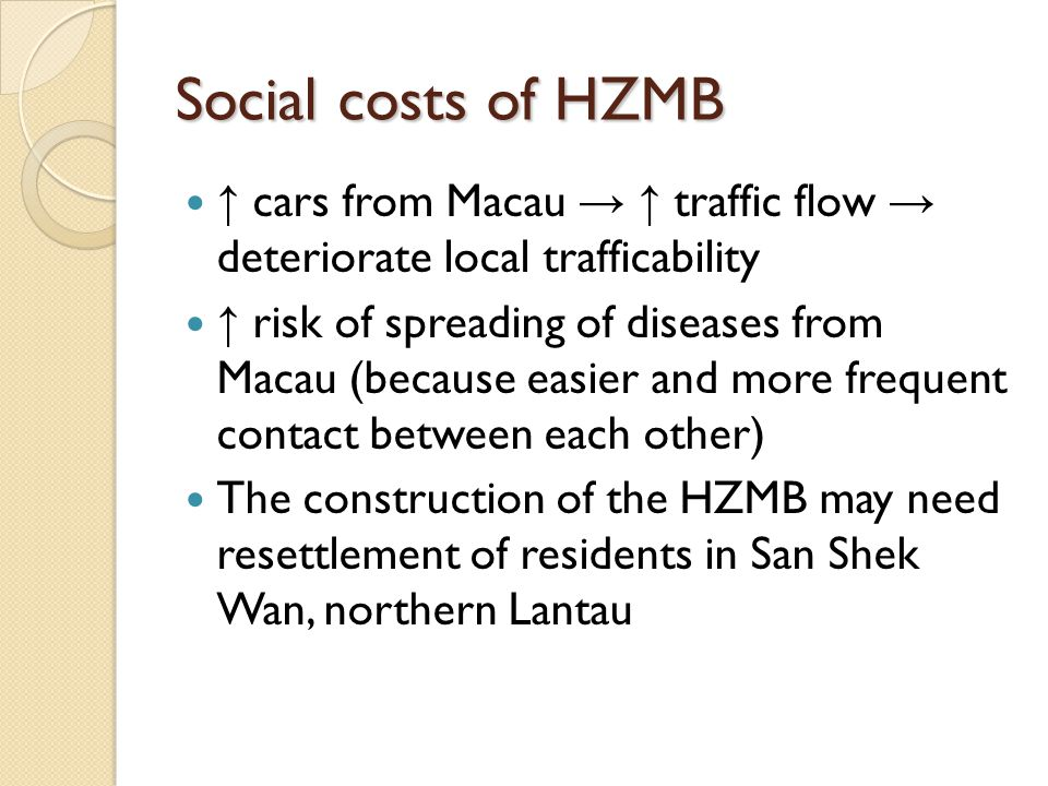 Social costs of HZMB ↑ cars from Macau → ↑ traffic flow → deteriorate local trafficability.