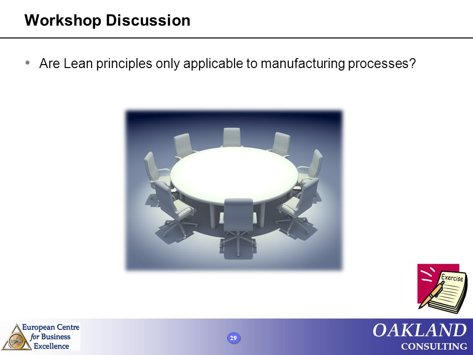 Workshop Discussion Are Lean principles only applicable to manufacturing processes