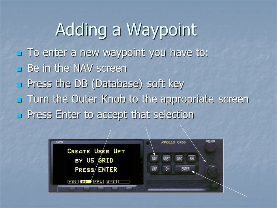 Adding a Waypoint To enter a new waypoint you have to: