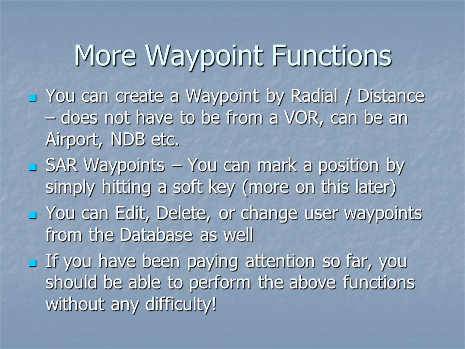 More Waypoint Functions