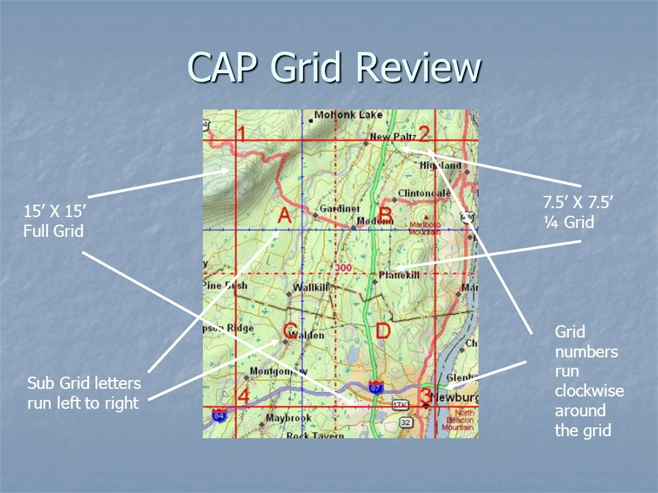 CAP Grid Review 7.5' X 7.5' 15' X 15' ¼ Grid Full Grid