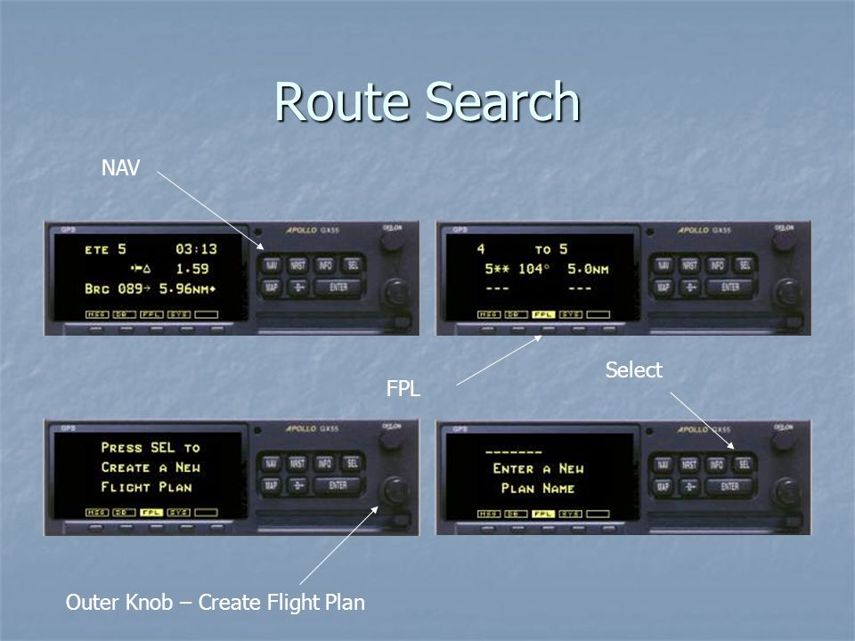 Route Search NAV Select FPL Outer Knob – Create Flight Plan