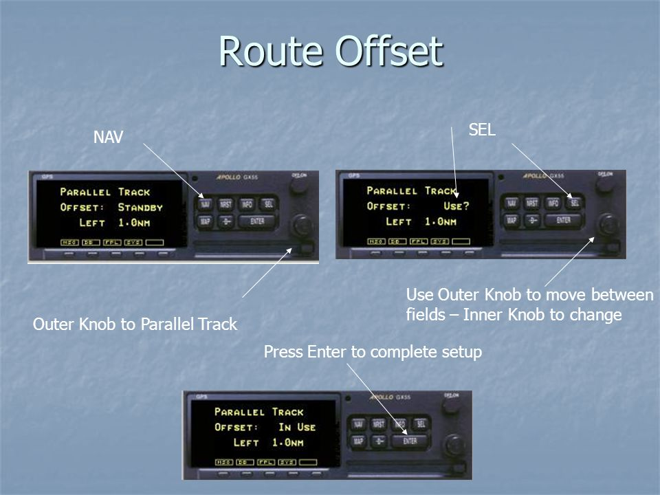 Route Offset SEL NAV Use Outer Knob to move between