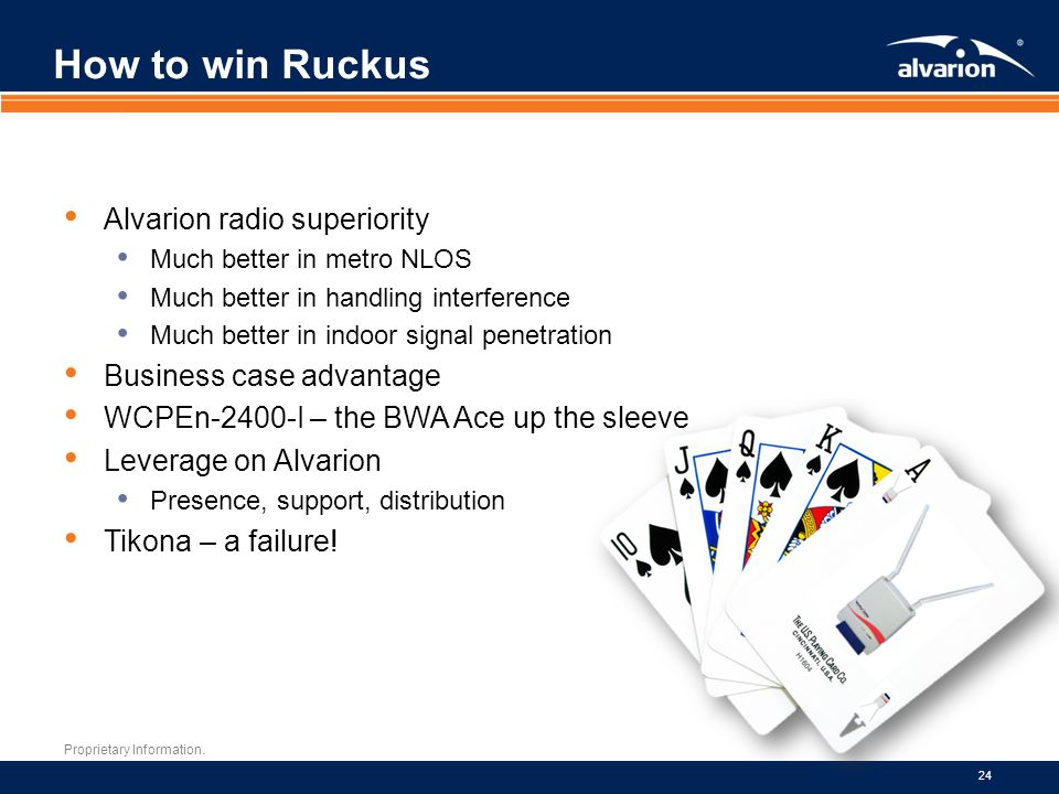 How to win Ruckus Alvarion radio superiority Business case advantage