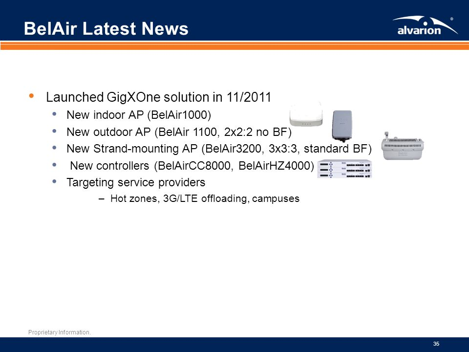 BelAir Latest News Launched GigXOne solution in 11/2011