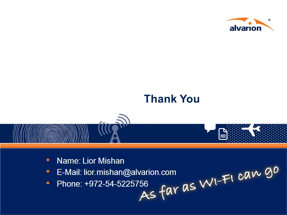 Thank You Name: Lior Mishan E-Mail: lior.mishan@alvarion.com