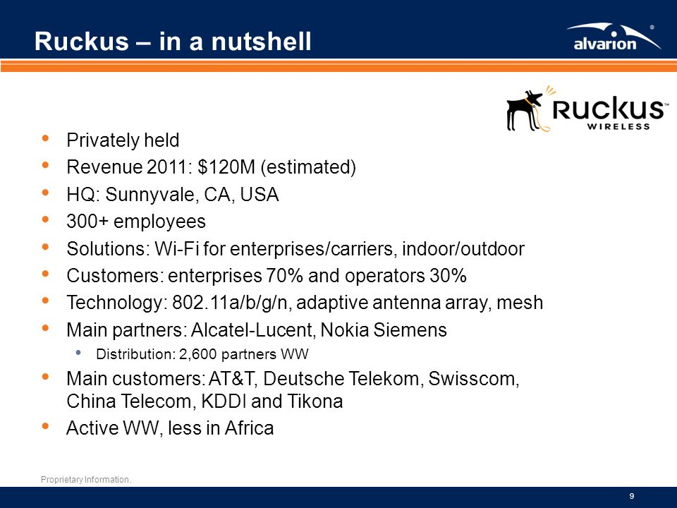 Ruckus – in a nutshell Privately held Revenue 2011: $120M (estimated)