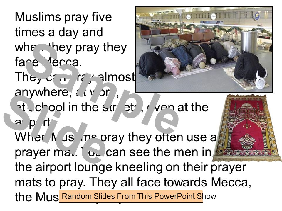 Sample Slide Muslims pray five times a day and when they pray they