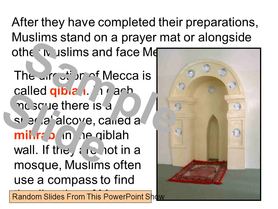 After they have completed their preparations, Muslims stand on a prayer mat or alongside other Muslims and face Mecca.