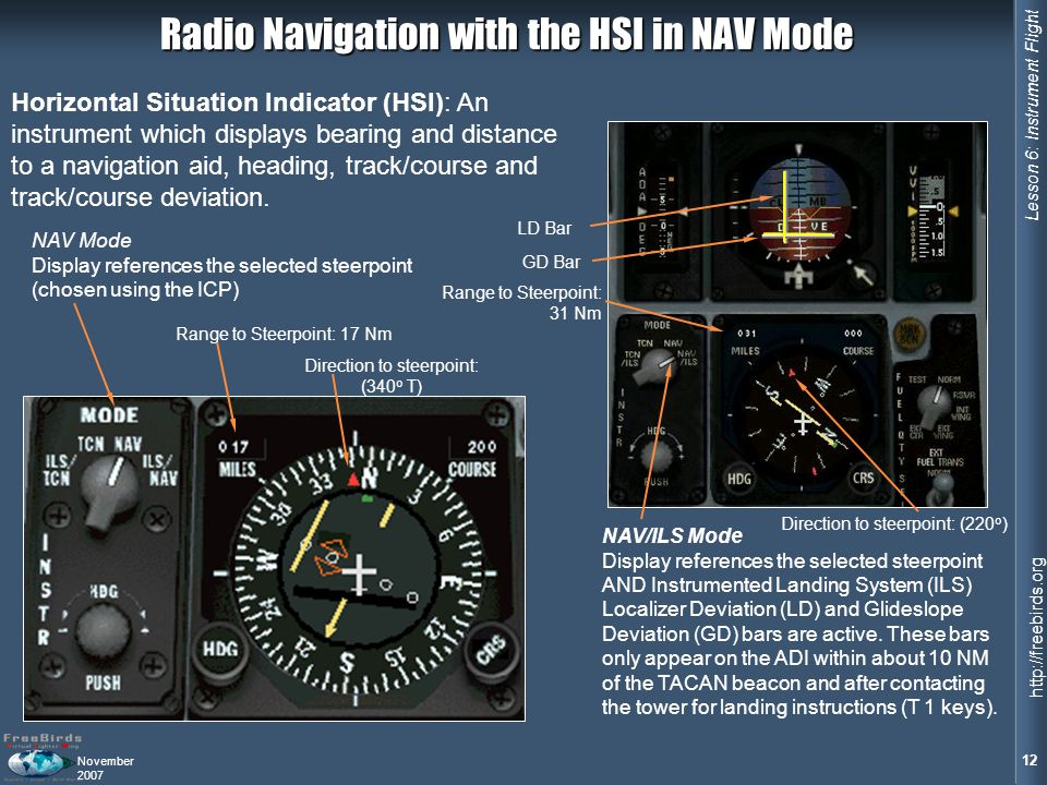 Radio Navigation with the HSI in NAV Mode