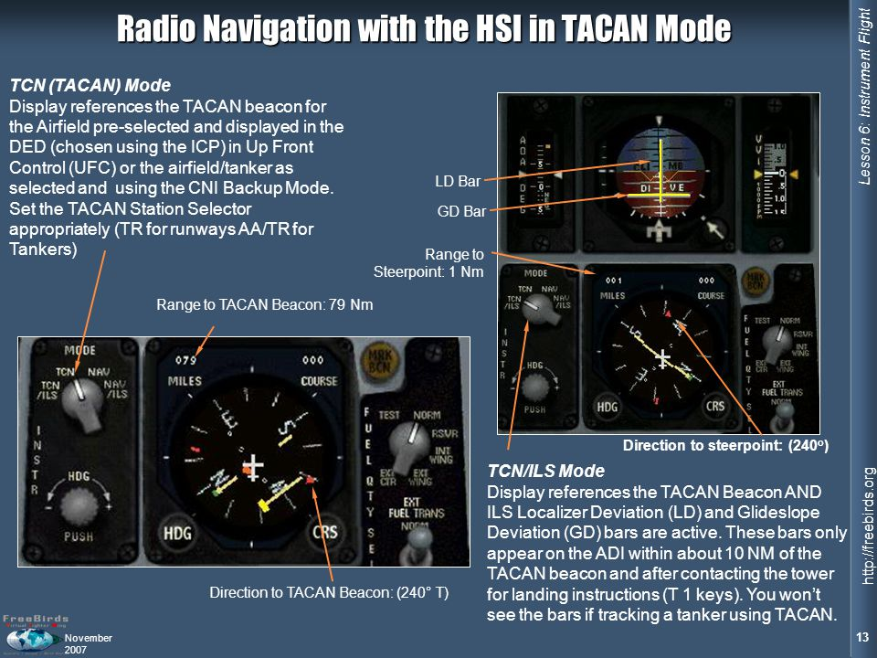 Radio Navigation with the HSI in TACAN Mode