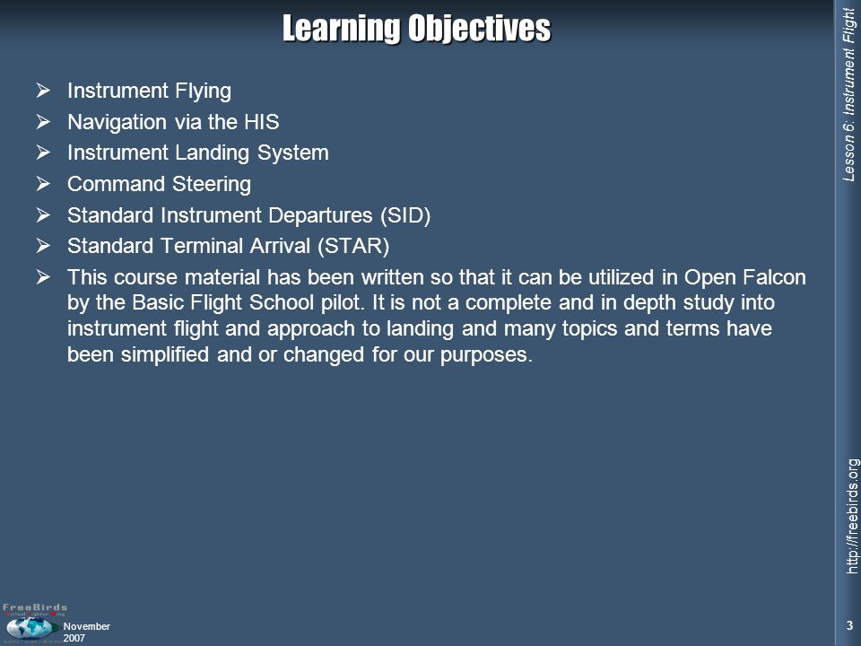 Learning Objectives Instrument Flying Navigation via the HIS