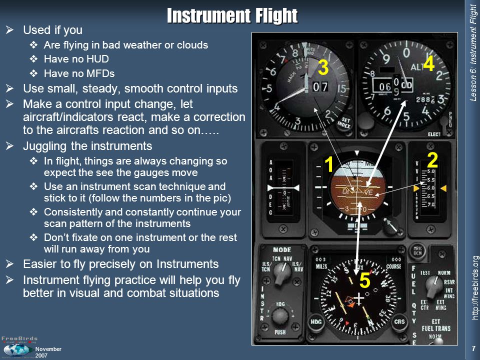 4 3 2 1 5 Instrument Flight Used if you